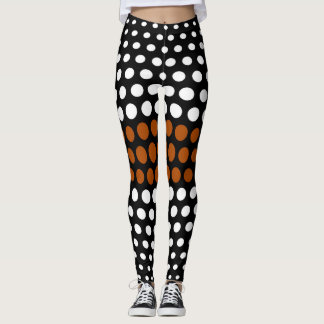 White and Brown Polka Dot Pattern Leggings