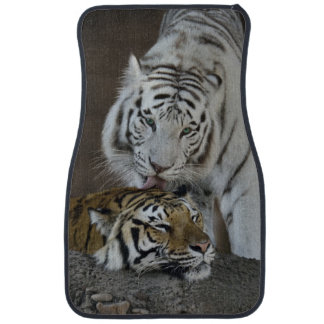 White And Brown Tigers Resting Car Mat