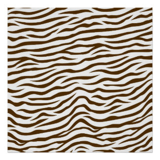 White and Brown Zebra Stripes Animal Print
