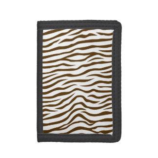 White and Brown Zebra Stripes Animal Print Tri-fold Wallets