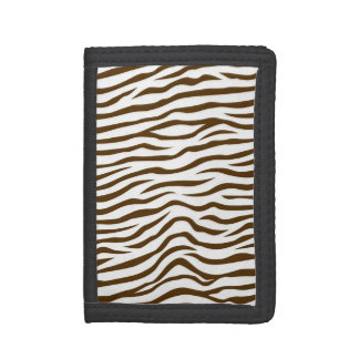 White and Brown Zebra Stripes Animal Print Trifold Wallet