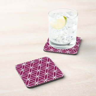 White and Burgundy Graphic Lotus Flower Design Beverage Coaster