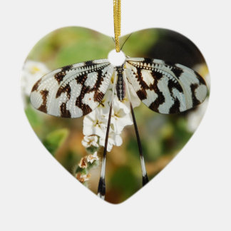 White and Chocolate Brown Fantail Butterfly Christmas Ornament