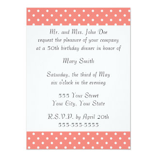 White and Coral Pink Polka Dot Pattern 14 Cm X 19 Cm Invitation Card