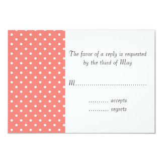White and Coral Pink Polka Dot Pattern 9 Cm X 13 Cm Invitation Card