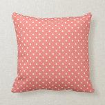 White and Coral Pink Polka Dot Pattern Cushions