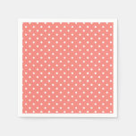 White and Coral Pink Polka Dot Pattern Disposable Napkin