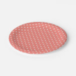 White and Coral Pink Polka Dot Pattern 7 Inch Paper Plate