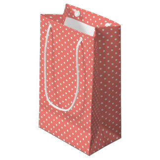 White and Coral Pink Polka Dot Pattern Small Gift Bag