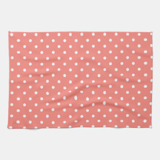 White and Coral Pink Polka Dot Pattern Tea Towel
