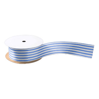 White and Cornflower Blue Stripe Satin Ribbon