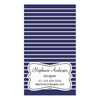 White and Dark Blue Stripes Business Card