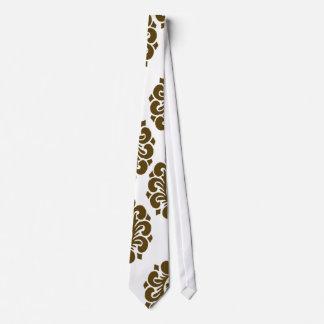 white and dark brown elegant ornamental damask tie