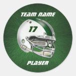 White and Dark Green Football Helmet Round Stickers