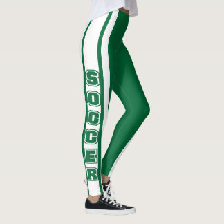 White and Dark Green Soccer Jersey  Stripe Design Leggings