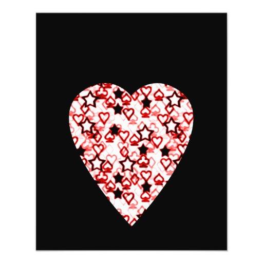 White and Dark Red Heart. Patterned Heart Design. Custom Flyer