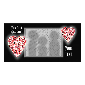 White and Dark Red Heart. Patterned Heart Design. Photo Card