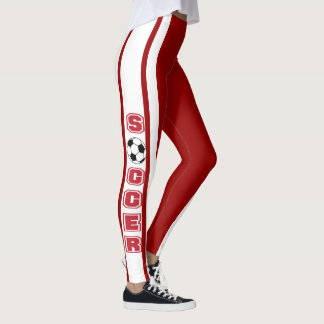 White and Dark Red Soccer Jersey  Stripe Design Leggings