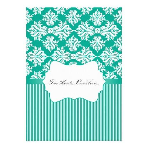 White and Emerald Green Damask Wedding Invitation