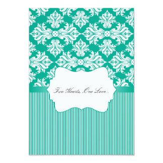 "White and Emerald Green Damask Wedding Invitation 5"" X 7"" Invitation Card"