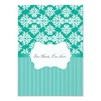 White and Emerald Green Damask Wedding Invitation