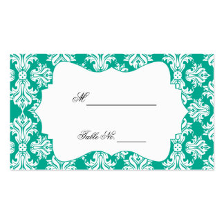 White and Emerald Green Damask Wedding Place Cards Business Card Template