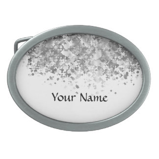 White and faux glitter personalized belt buckle