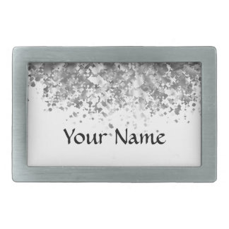 White and faux glitter personalized belt buckles