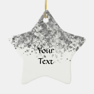 White and faux glitter personalized christmas ornament