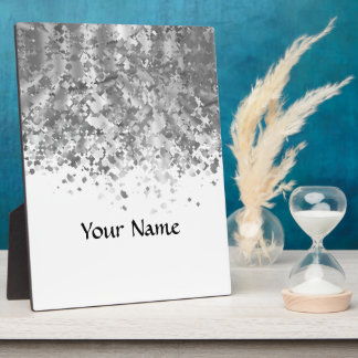 White and faux glitter personalized plaque