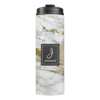 White and Faux Gold Marble Elegant Monogram Thermal Tumbler