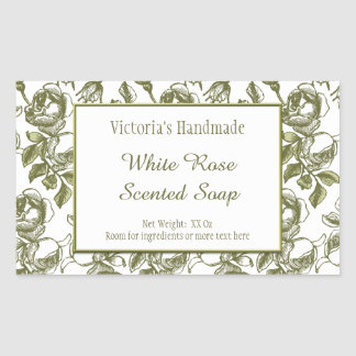 White and Faux Gold Rose Custom Soap Stickers