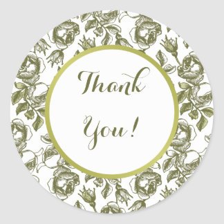 White and Faux Gold Rose Custom Thank You Stickers