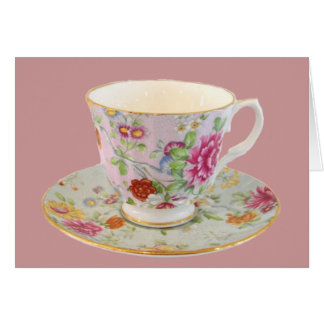 White and Floral Tea Cup and Saucer Note Card