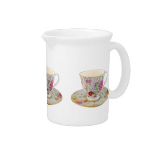 White and Floral Teacup and Saucer Pitcher
