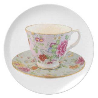 White and Floral Teacup and Saucer Plate