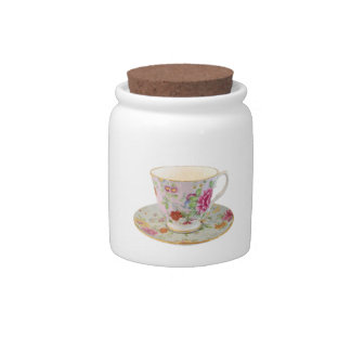 White and Floral Teacup and Saucer Sugar Jar Candy Jar