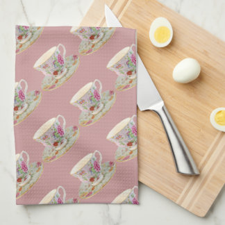 White and Floral Teacup and Saucer Tea Towel