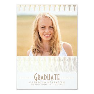 White and Gold Art Deco Vintage Graduation Party 13 Cm X 18 Cm Invitation Card
