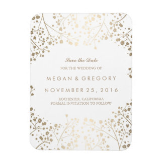 White and gold Baby's Breath Save the Date Rectangular Photo Magnet