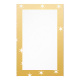 White and Gold Color Star Pattern Stationery