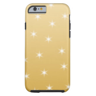 White and Gold Colour Star Pattern Tough iPhone 6 Case