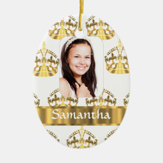 White and gold crowns christmas ornament