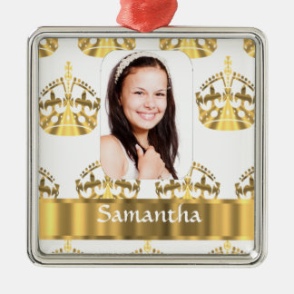 White and gold crowns pattern personalized christmas ornament