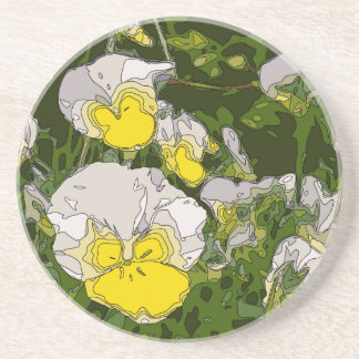 White and Gold Daffodil Flowers Beverage Coasters