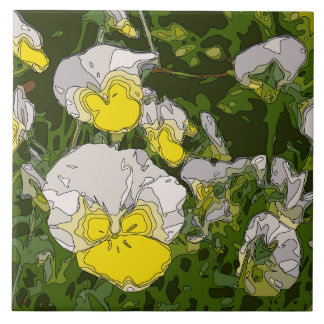 White and Gold Daffodil Flowers Tiles
