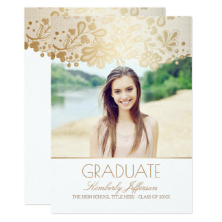 White and Gold Elegant Lace Photo Graduation Party Card