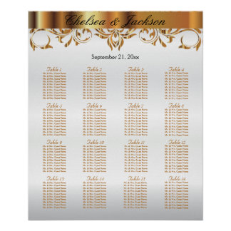 White and  Gold Element Design - 16 Seating Chart