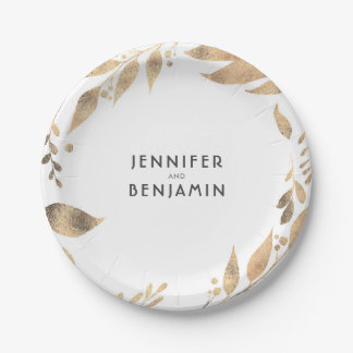 White and Gold Fall Leaves Chic Wedding Paper Plate