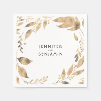 White and Gold Fall Leaves Elegant Wedding Disposable Serviette